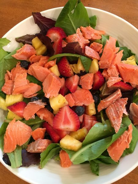 Strawberry Salmon Salad; Grilled Vegetables